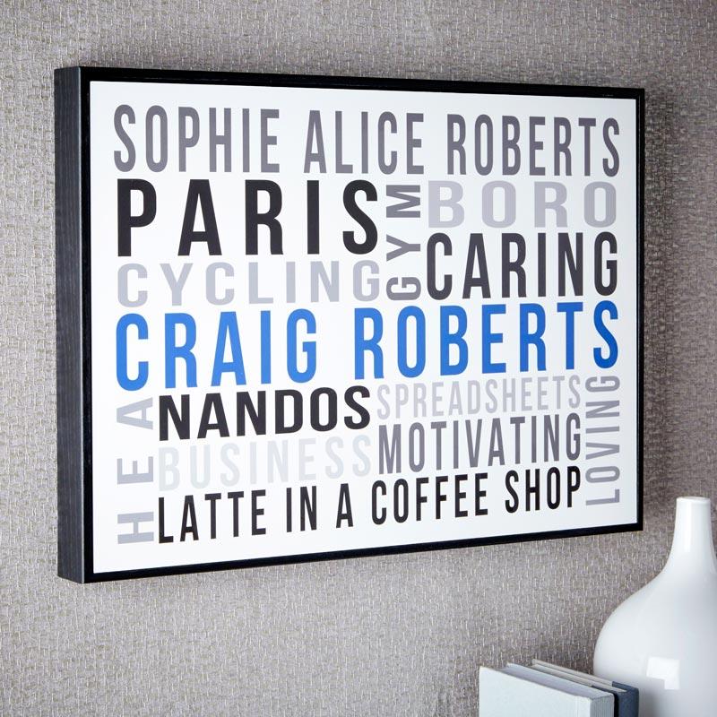 Personalised Word Art Box Frames