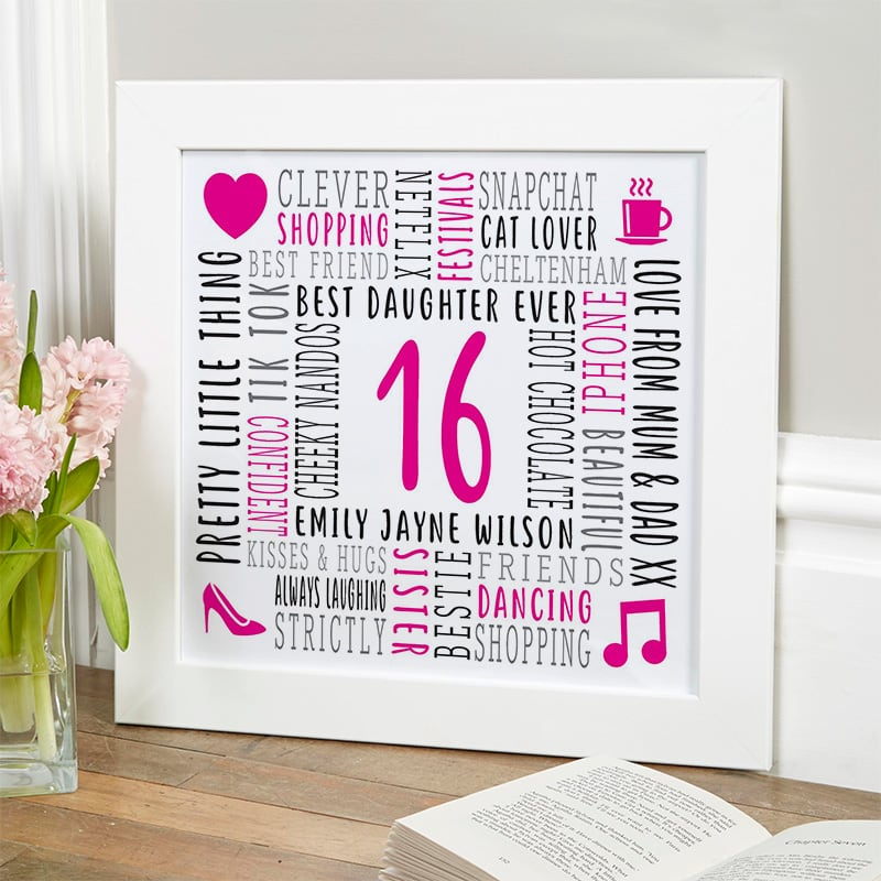 16th birthday present for daughter custom word picture