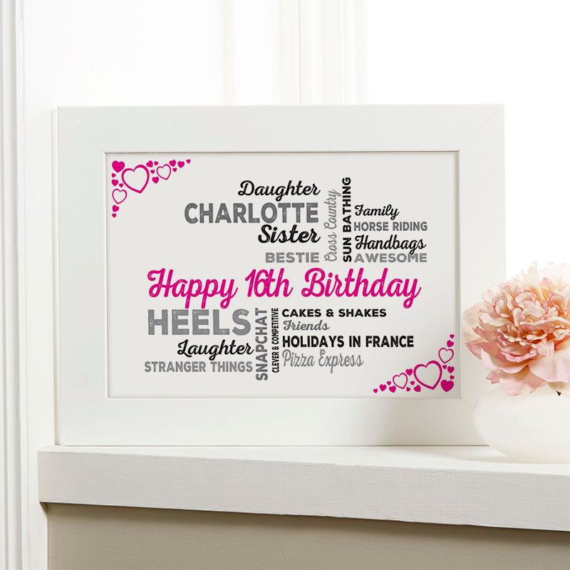 16th birthday gift for girls typographic art personalised framed print