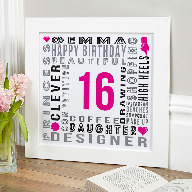 16th birthday unique gift for girls personalised year of birth word picture