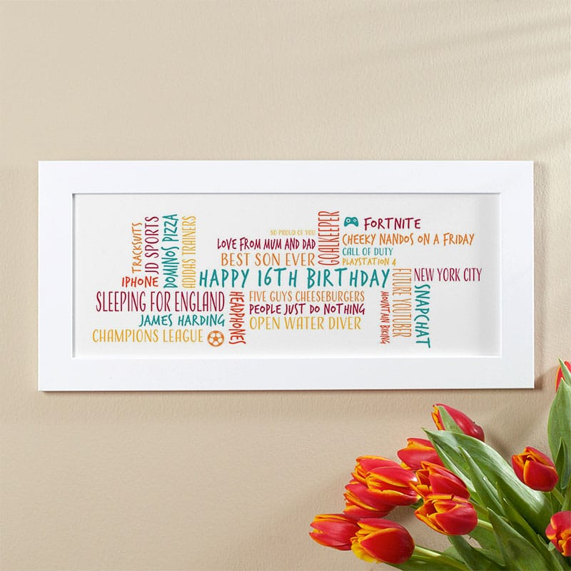 16th birthday gift for boys personalised word cloud