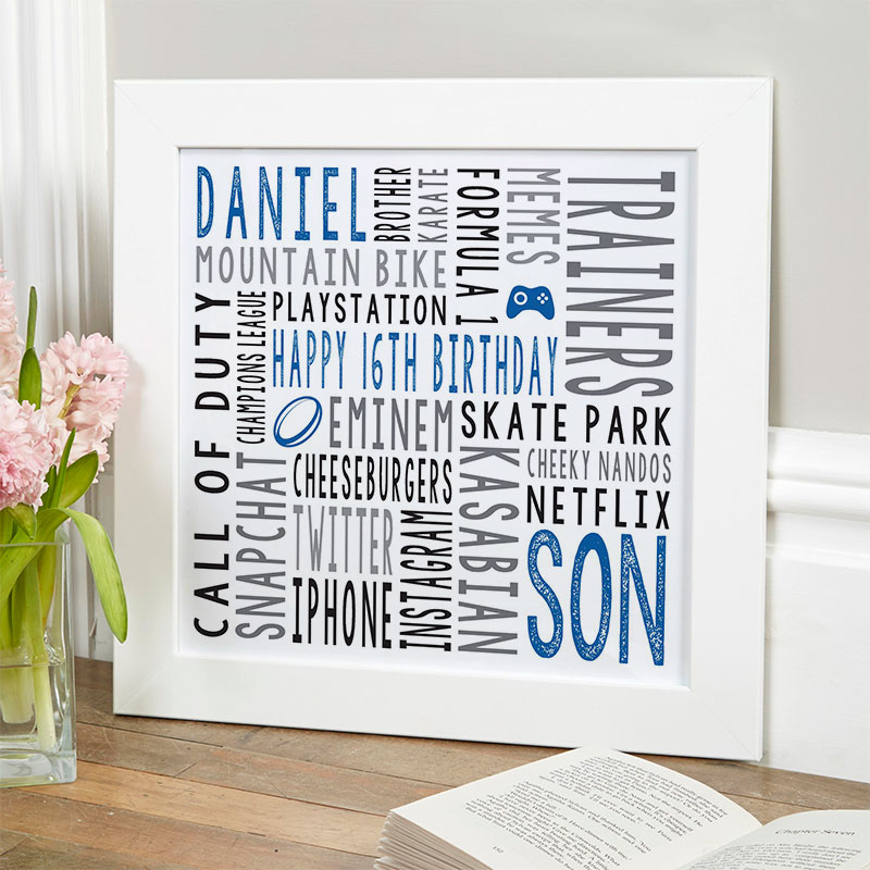16th birthday gift for men personalised word art print square