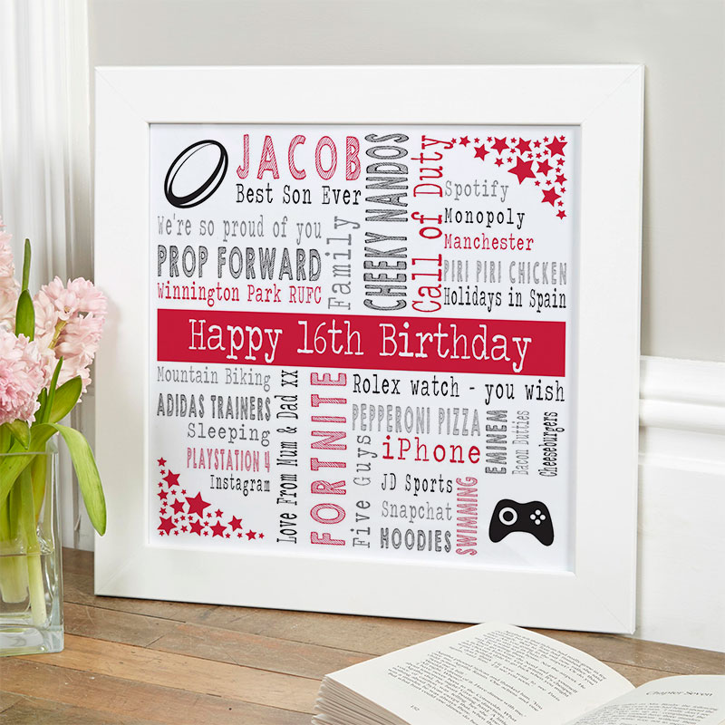 16th birthday gift ideas for boys personalised picture