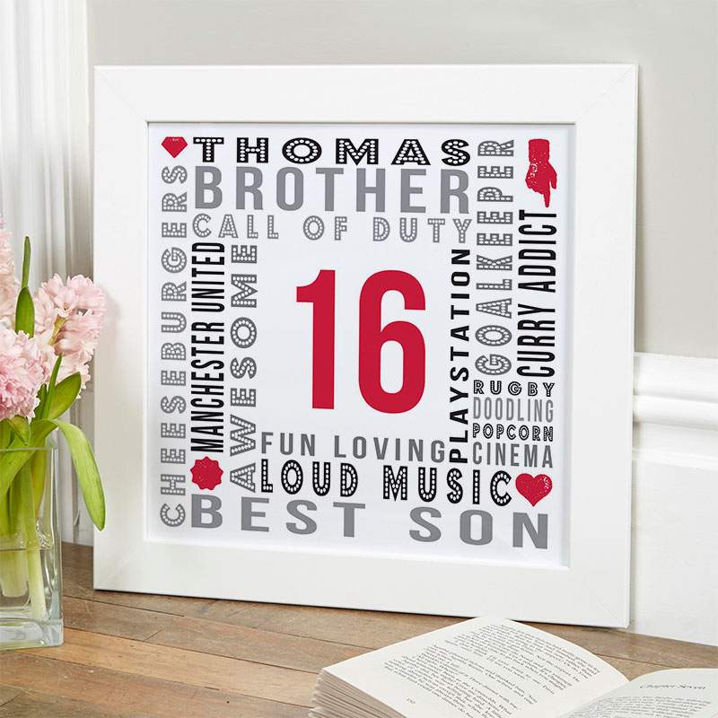 16th birthday gift for boys personalised landmark age word picture