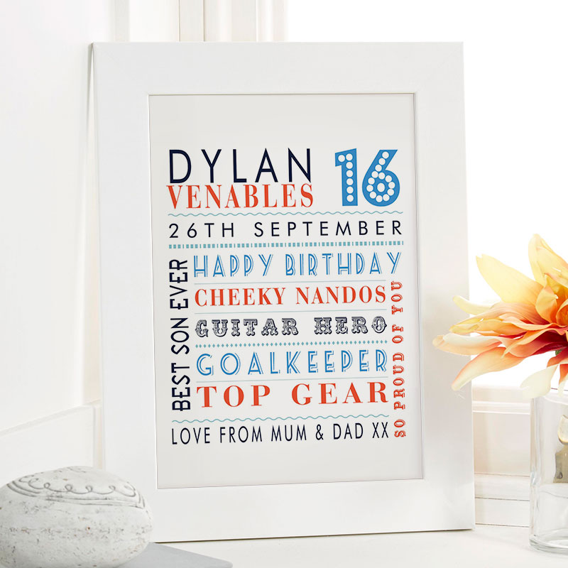 boys 16th birthday gift idea personalised picture print