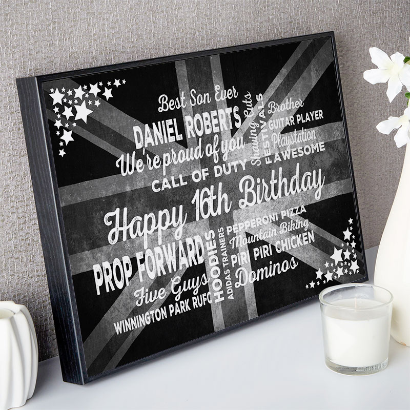 16th birthday gift for boys typographic art personalised print