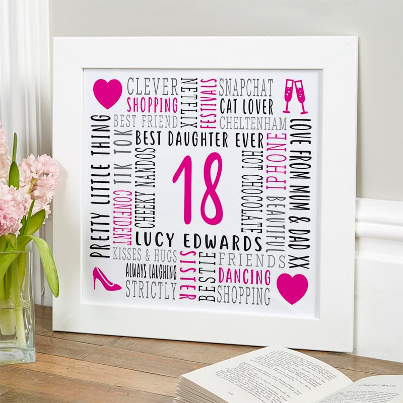 custom birthday gift for 18 year old girl word picture
