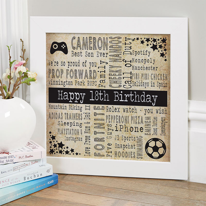 18th birthday gift ideas for boys personalised square corners