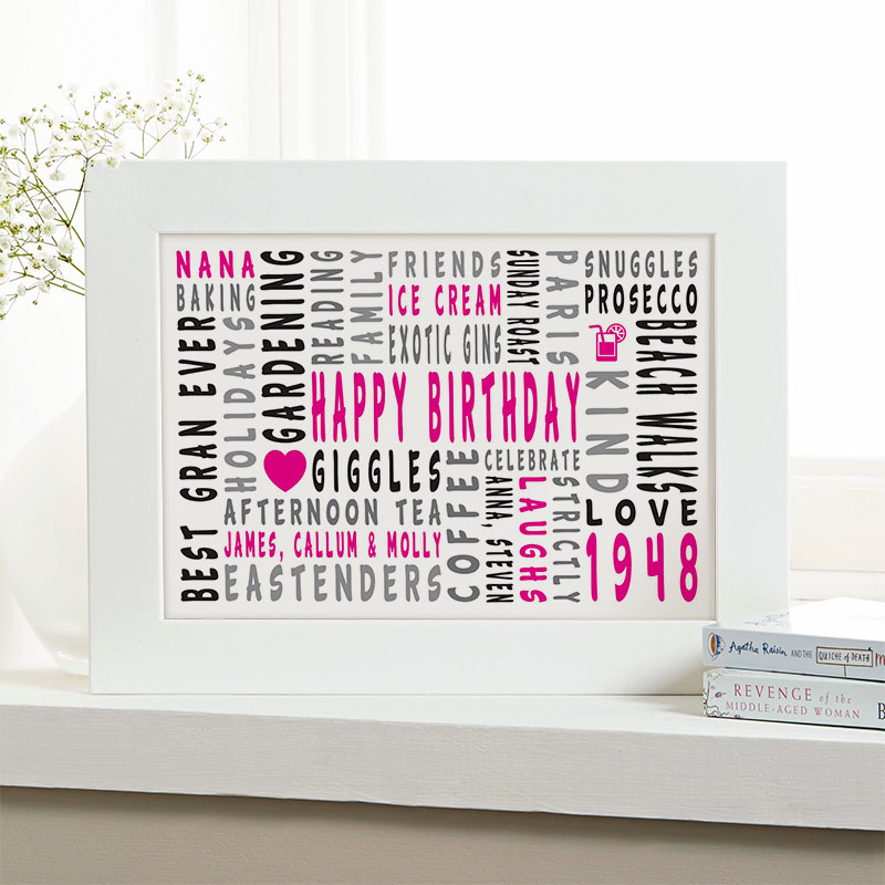 70th birthday personalised gift for her word art landscape icons