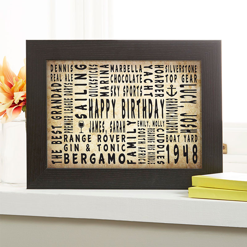 70th birthday personalised gift for him word art landscape icons