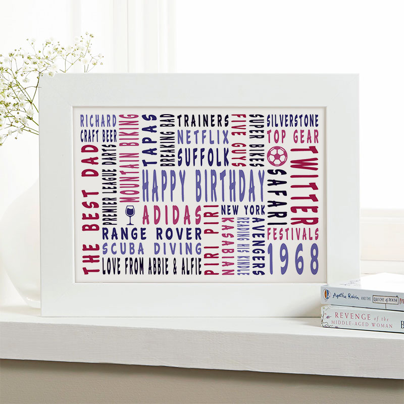 50th birthday personalised gift for him word art landscape icons