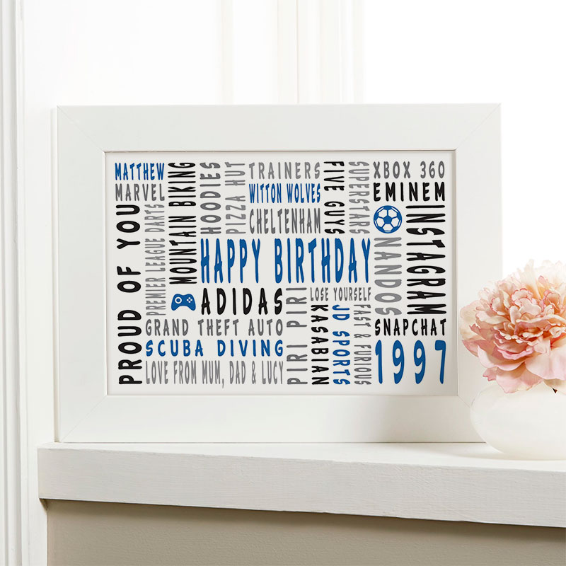 21st birthday personalised gift for him word art landscape icons