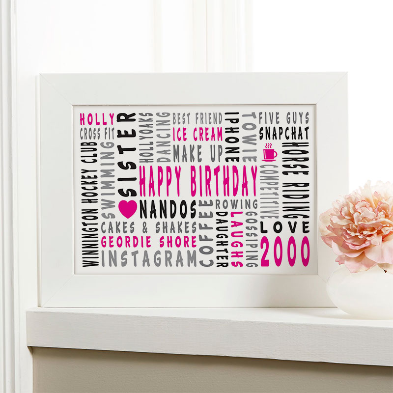 18th birthday personalised gift for girls word art landscape icons