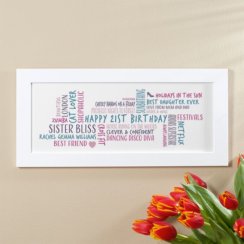21st birthday gift idea personalised word cloud
