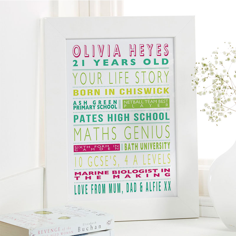 Personalised Life Story For Her 21st Birthday Gift