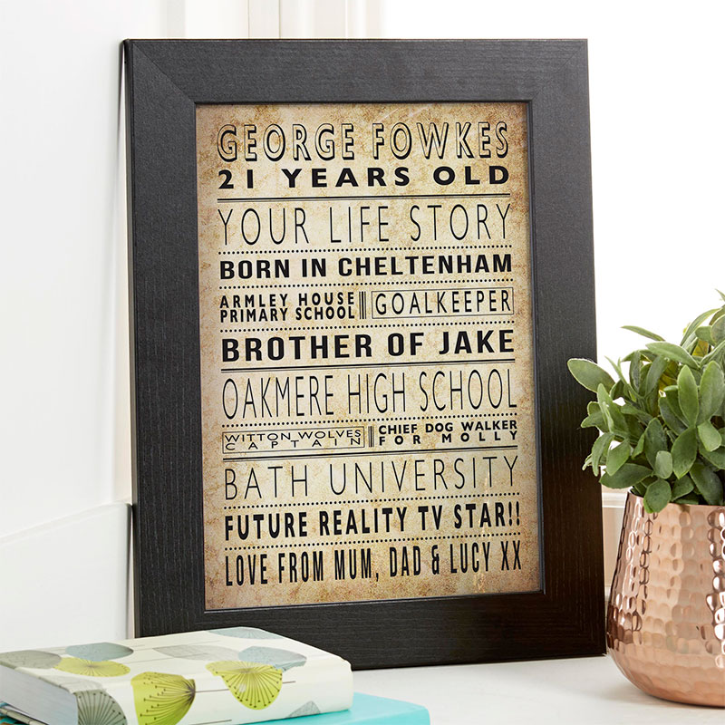 life story 21st birthday personalised gift