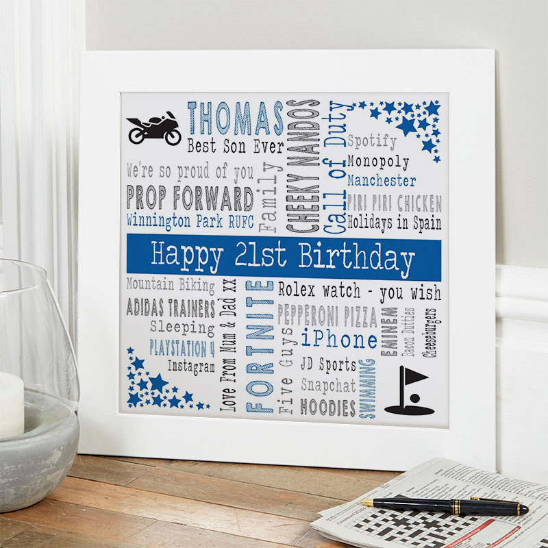 21st birthday gift ideas for him personalised square corners