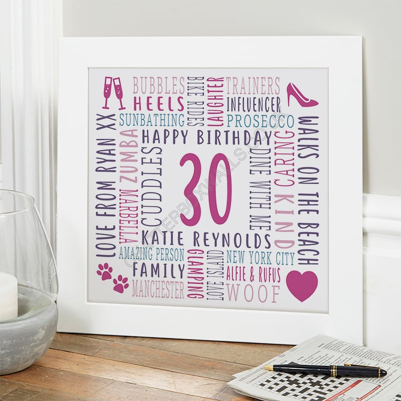 30th birthday personalised gift for her word picture