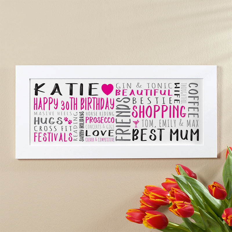 Personalised 30th Birthday Gift For Her Of Wall Art