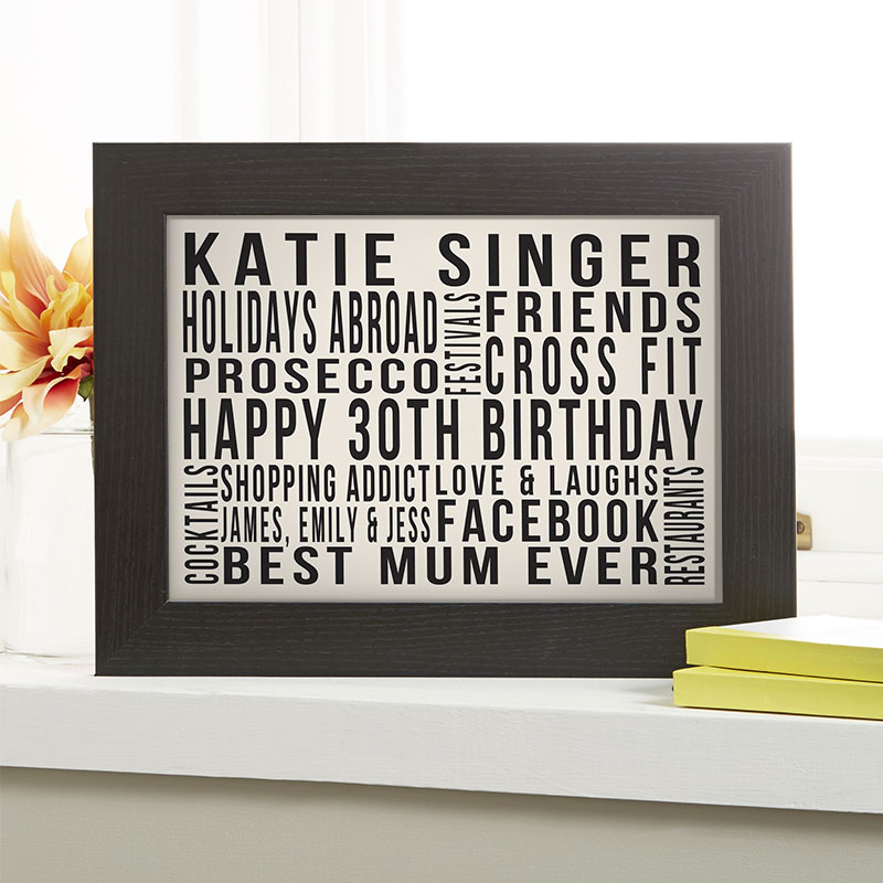 personalised 30th birthday gift for wife