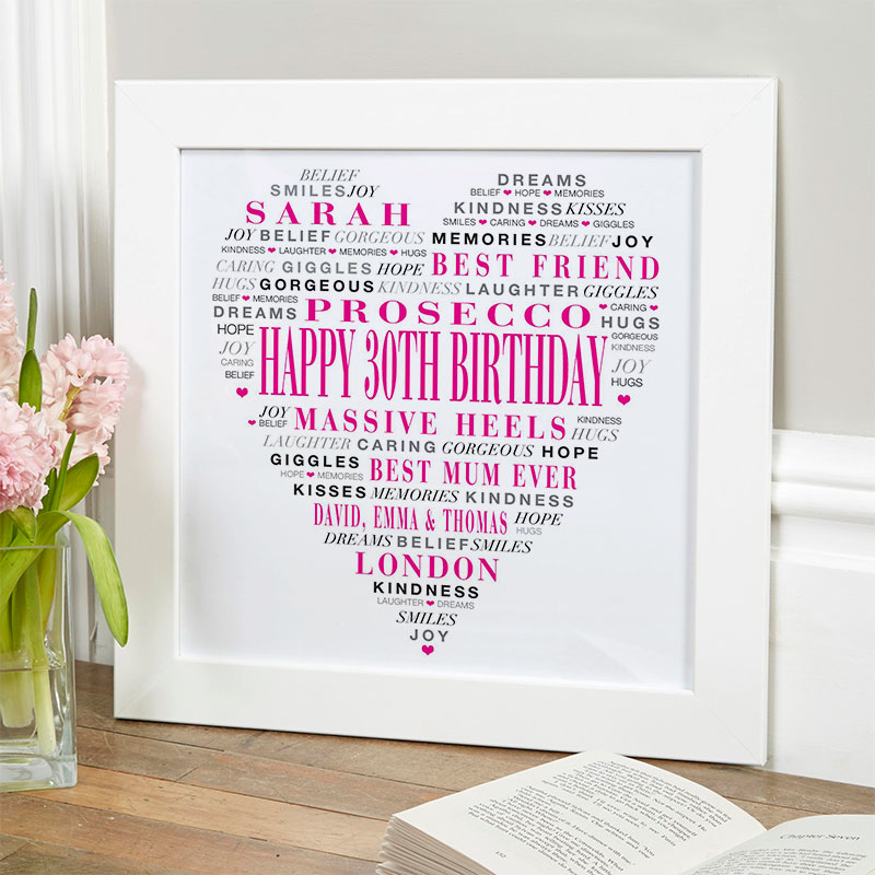 love heart gift for 30th birthday