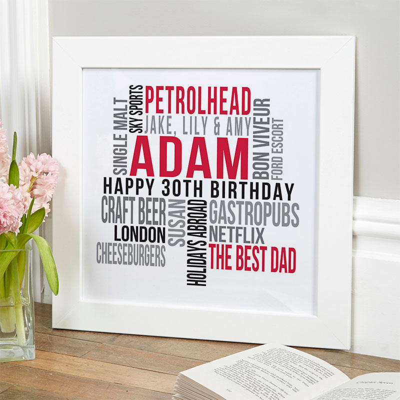 personalised present for husband 30th birthday memories