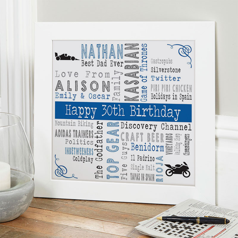 30th birthday gift ideas for him personalised square corners