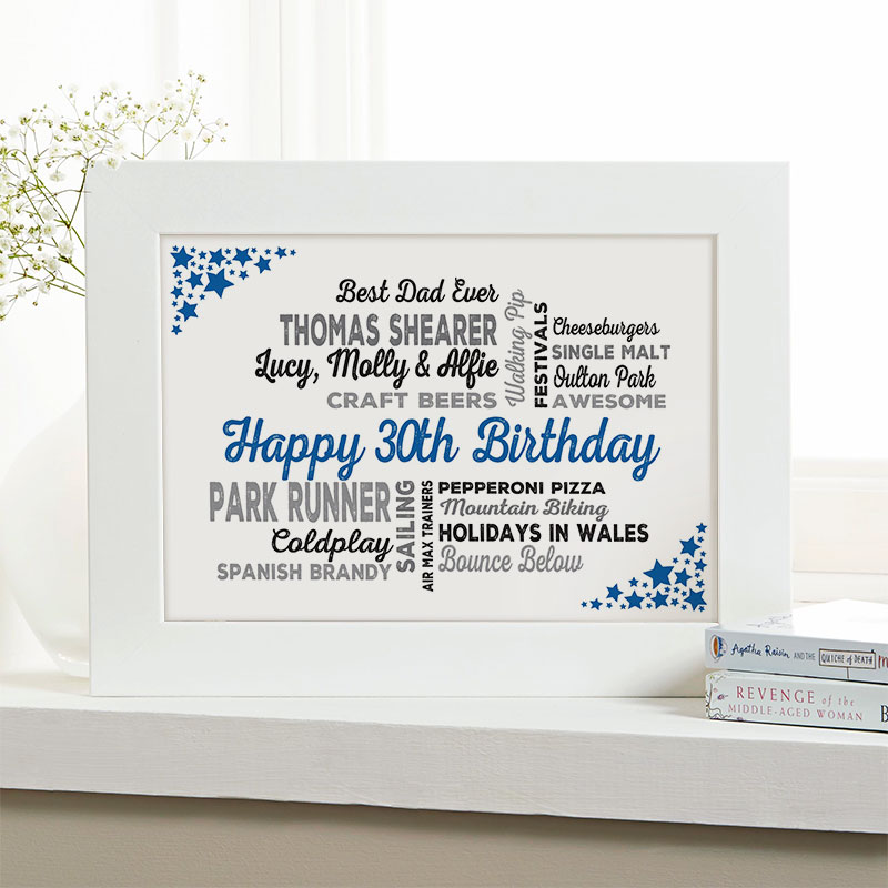 unusual 30th birthday gift for him framed picture