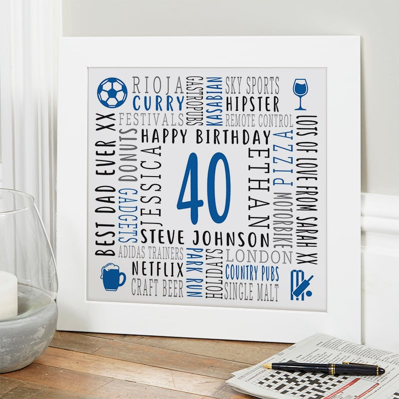 birthday gift for 40 year old man personalised picture