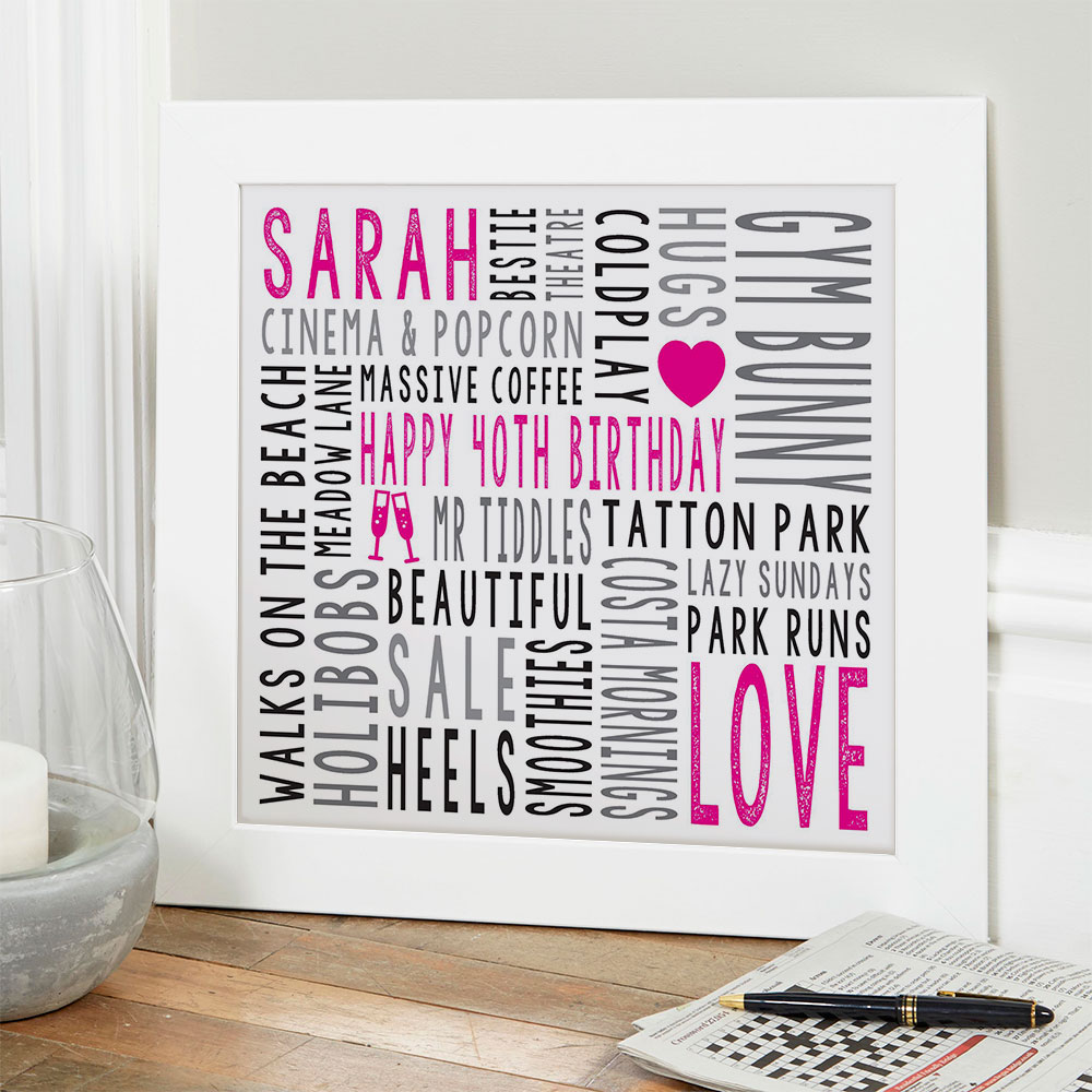 Personalised typographic prints posters canvases word art gifts for her mum wife sister
