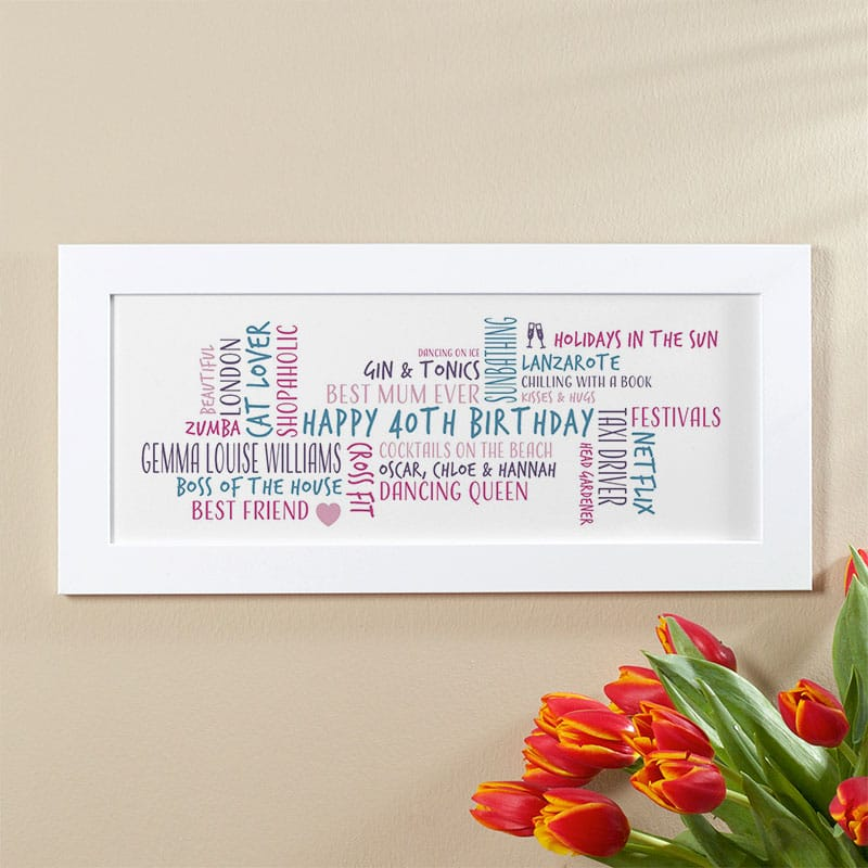 40th birthday gift idea for her personalised word cloud