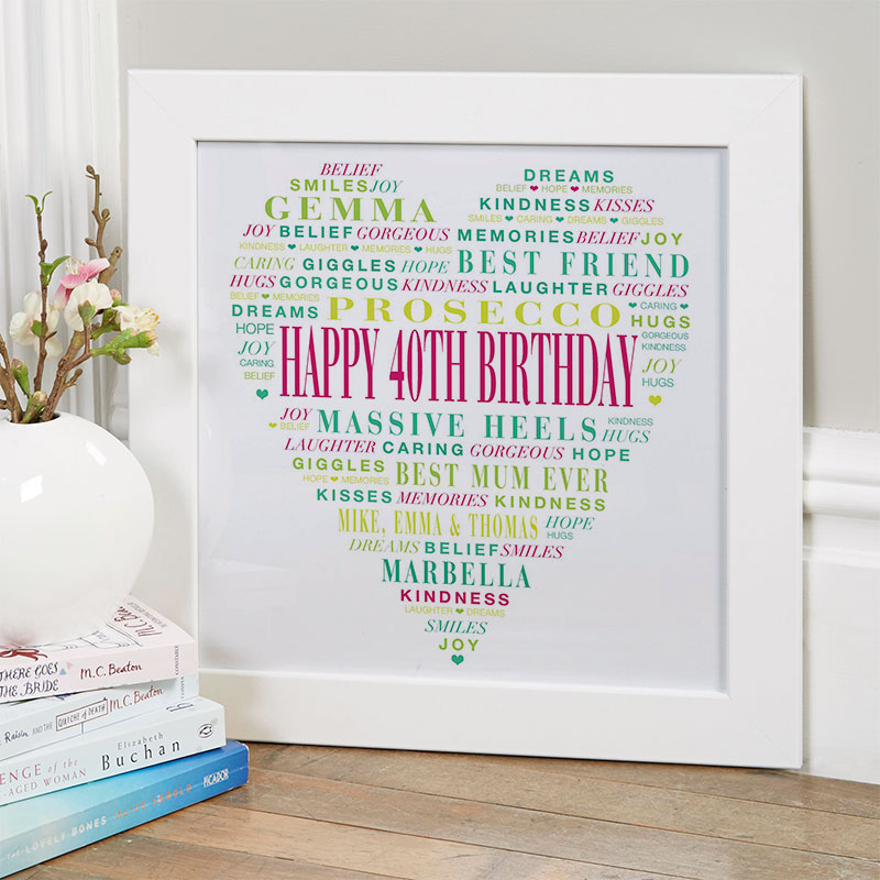 Personalised 40th Birthday Present Gift For Her