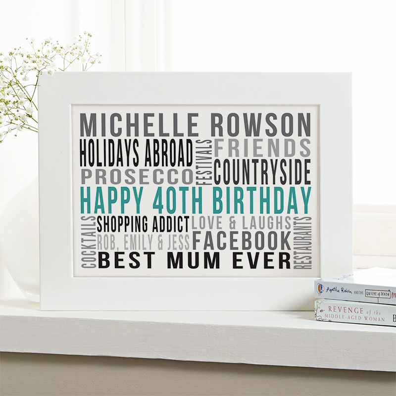 Personalised 40th Birthday Gifts For Her With Words