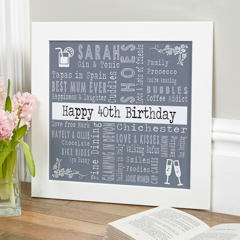 Personalised 40th Birthday Present For Her