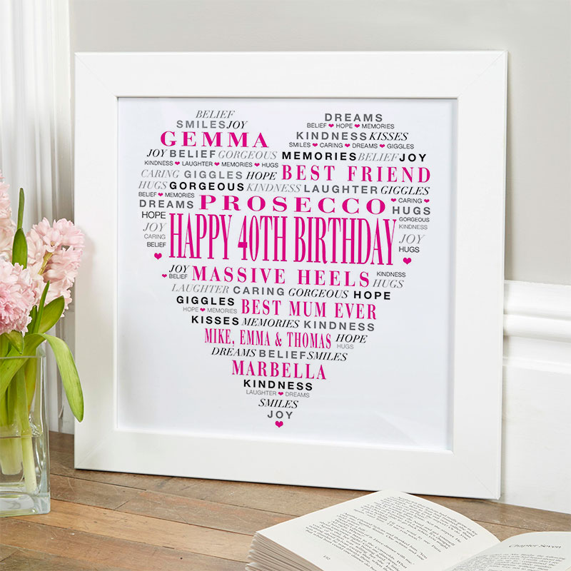 love heart gift for 40th birthday