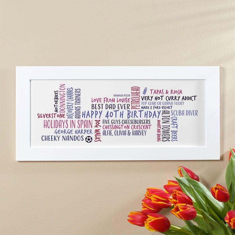 40th birthday gift idea for him personalised word cloud picture