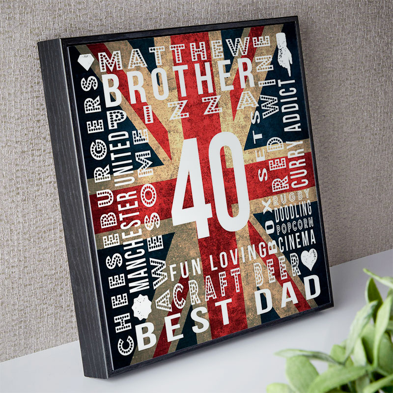 40th Birthday Mens Personalised Age Square Print