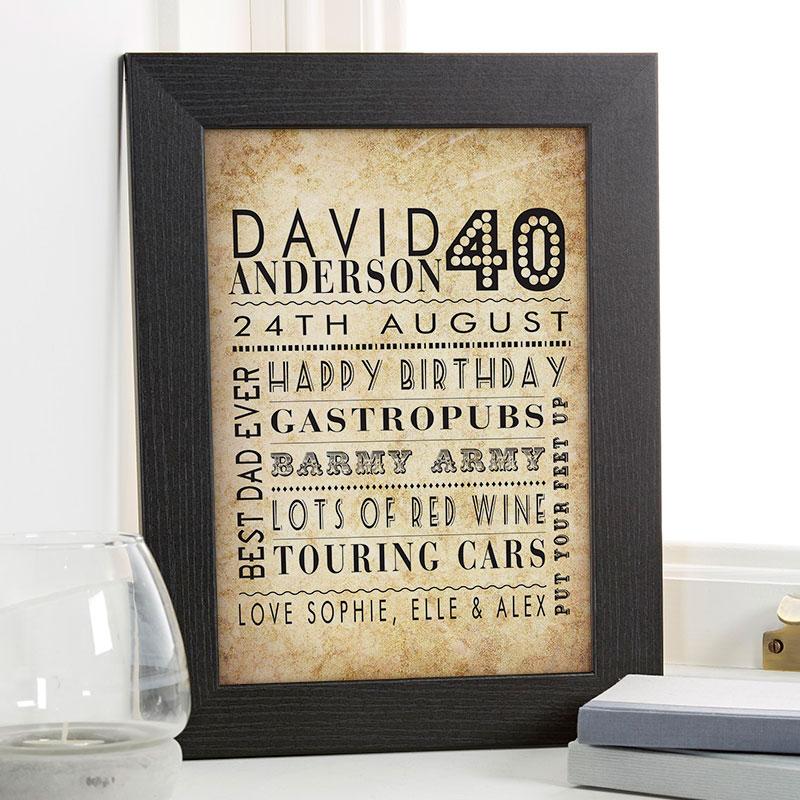 40th Birthday Mens Personalised Age Word Art