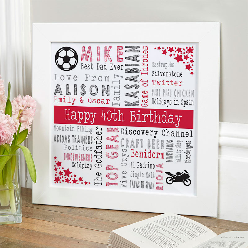 40th birthday gift ideas for him personalised square corners