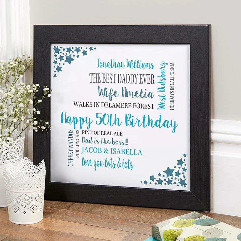 personalised 50th birthday word picture print