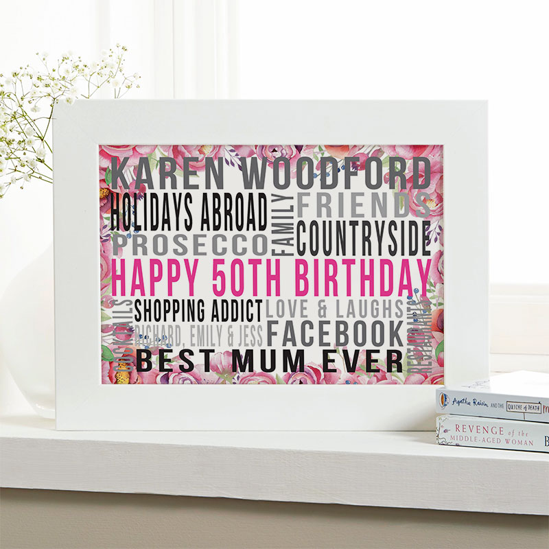 Personalised 50th Birthday Gifts For Her With Words