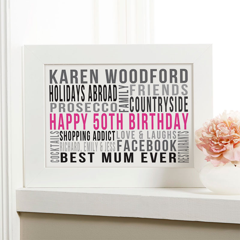 Personalised 50th Birthday Gifts For Her With Words Chatterbox Walls