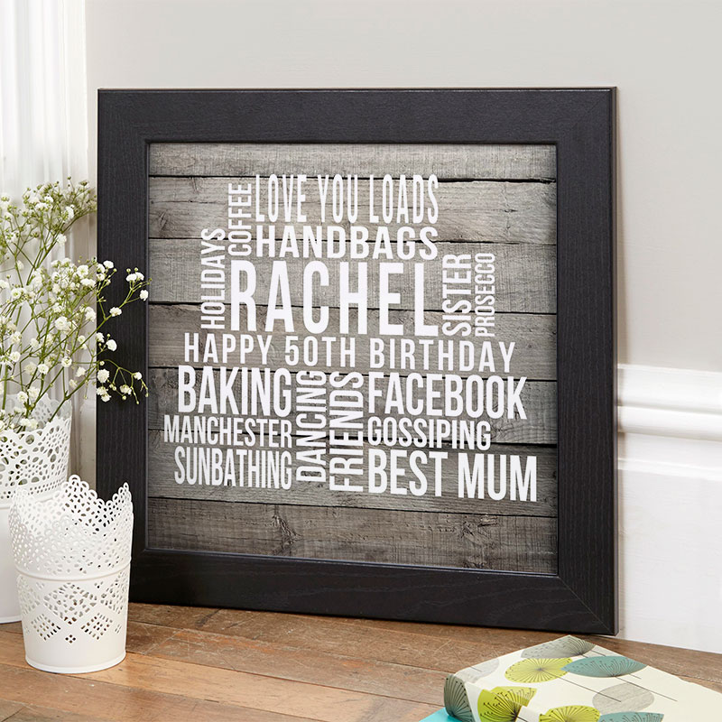 Personalised 50th Birthday Gifts Of Wall Art