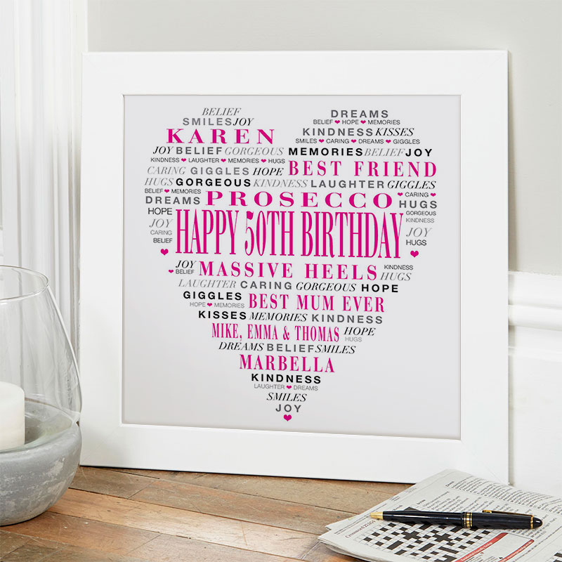 Personalised 50th Birthday Present Gift For Her