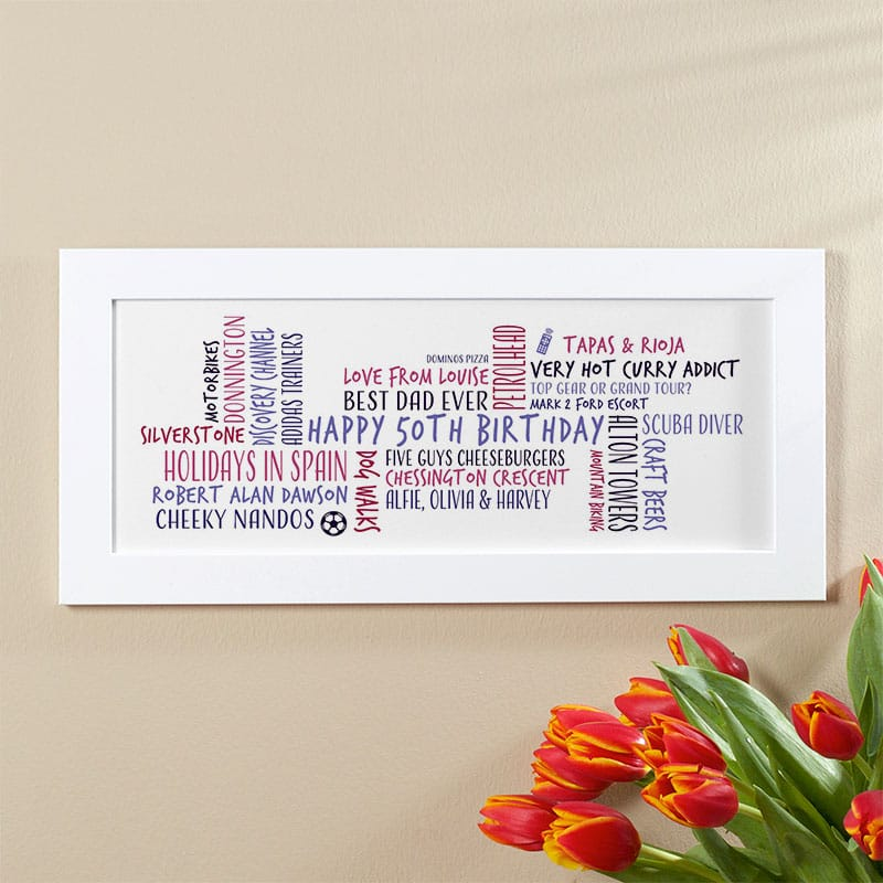50th birthday gift idea for him personalised word cloud picture print