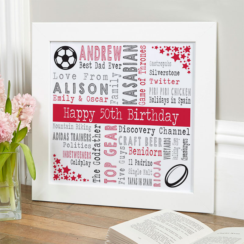 50th birthday gift ideas for him personalised square corners