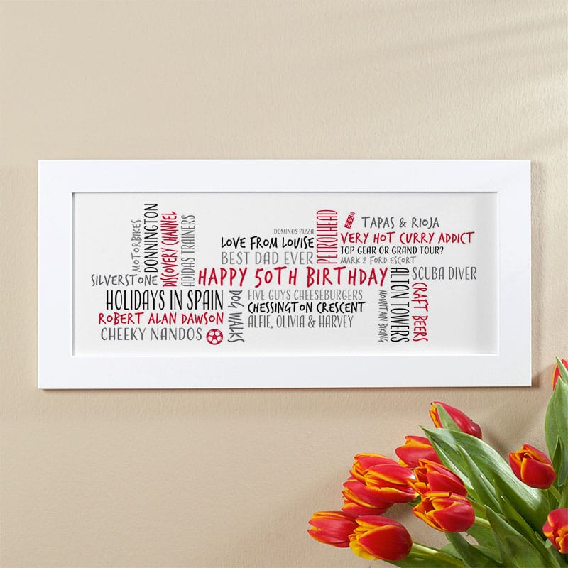 50th Birthday Gift For Men Personalised Word Cloud Picture