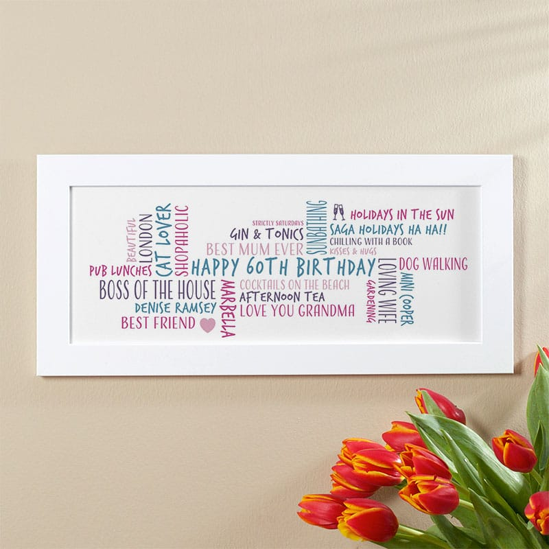 60th birthday gift idea for her personalised word cloud