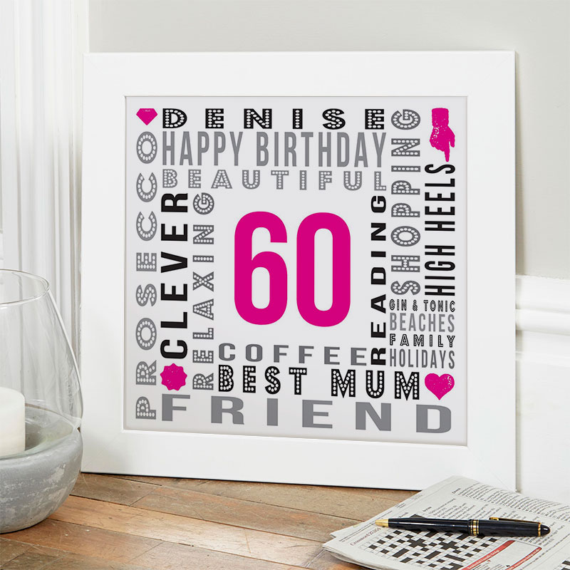60th Birthday Gift Ideas For Her Of Unique Word Art
