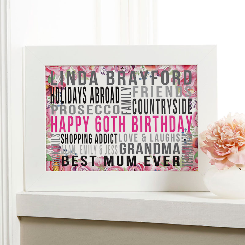 Personalised 60th Birthday Gifts For Her With Words
